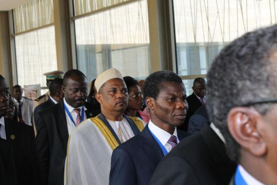 President of Comoros, H.E Dr Ikililou Dhoinine (in white)