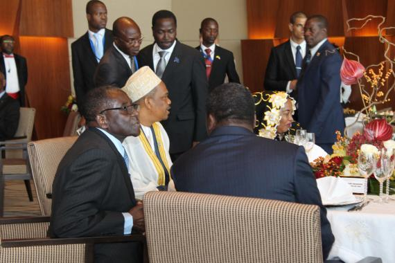 Presidents of Zimbabwe, Togo and Comores during luncheon