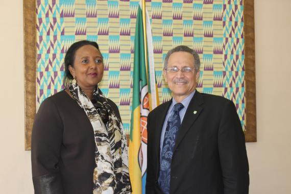 Kenya's Cabinet Secretary for Foreign Affairs Amb. Amina Mohamed pays a visit to ACP Secretary General Dr. Patrick Gomes.