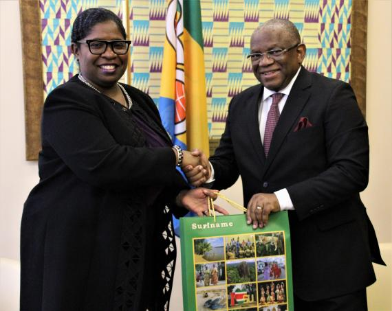 Courtesy call by H.E. Mrs. Yldiz Pollack- Beighle, Minister of Foreign Affairs of the Republic of Suriname