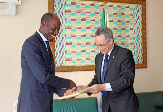 New Assistant SG (MDFIP) Mr. Henrique Banze welcomed by the ACP Secretary General as he assumes office.