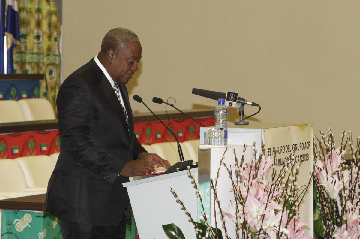 Outgoing President of the ACP Summit of Heads of State and Government, H.E John Dramani Mahama, President of Republic of Ghana