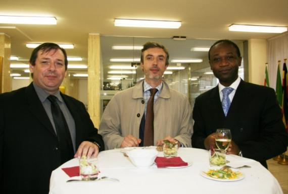 Jean-Cyril Dagallier (ACP Sugar Research), Vincent Fautrel (CTA) , and ACP Assistant Secretary General Achille Bassilekin III