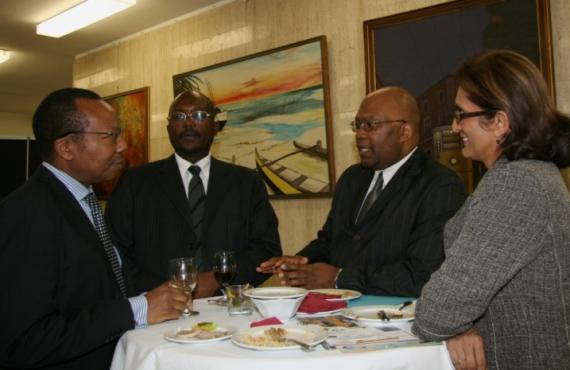 Multilateral Trade Expert Morgan Githinji (far left) and ACP Rapporteur Salima Abdool-Carrim (far right) with conference partici
