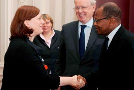 ACP Secretary General Dr Mohamed Ibn Chambas with President of the Belgian Senate Mme Bethune